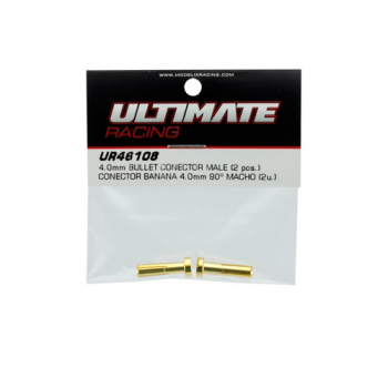 Ultimate RC Gold Stecker 4.0mm Male (2) Banana Connector 90°