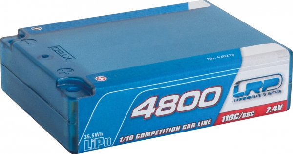 LRP 4800 - Square Pack - 110C/55C - 7.4V LiPo - 1/10 Competition Car Line Hardcase