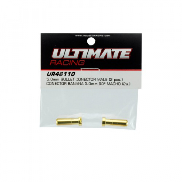 Ultimate RC Gold Stecker 5.0mm Male (2) Banana Connector 90°